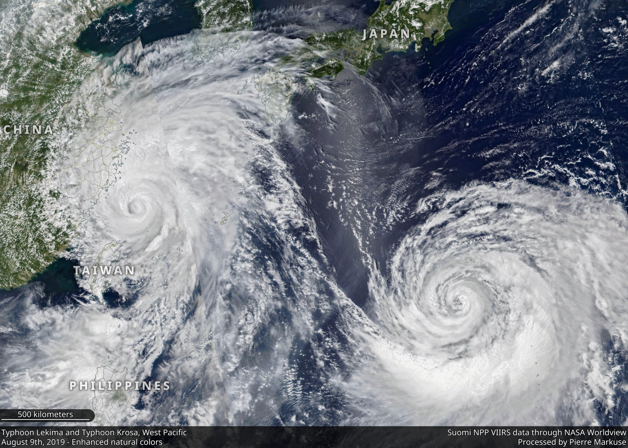 desc:Typhoon Lekima and Typhoon Krosa, West Pacific - August 9th, 2019