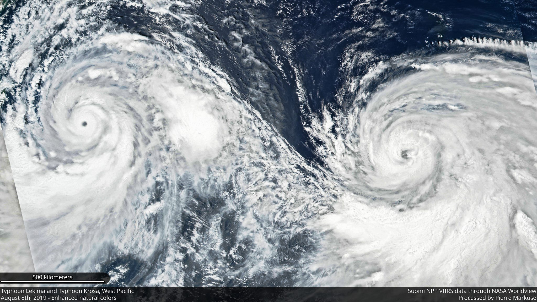 desc:Typhoon Lekima and Typhoon Krosa, West Pacific - August 8th, 2019