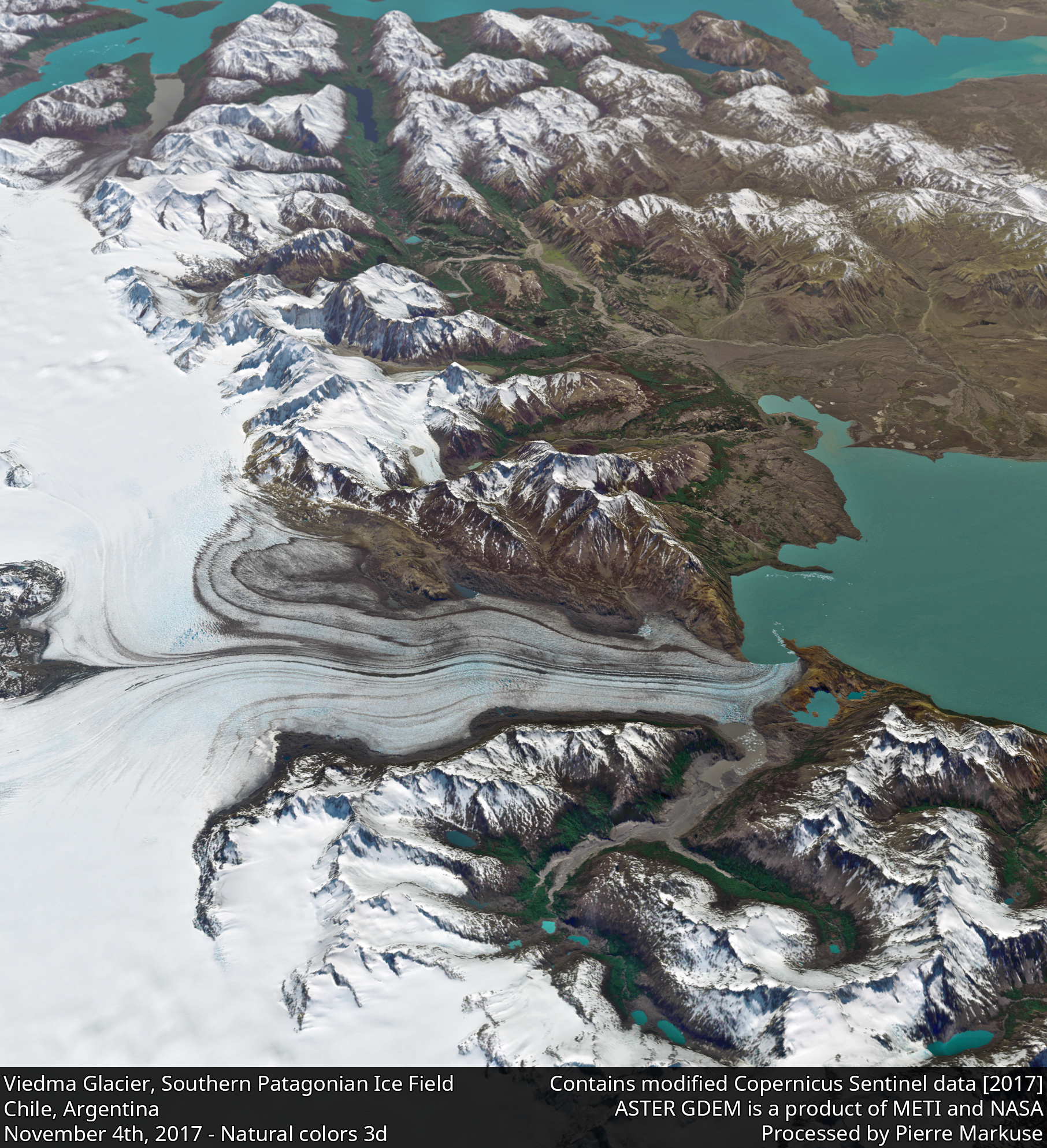 desc:Viedma Glacier, Lake Viedma, Southern Patagonian Ice Field, Chile, Argentina 3d view;photo: Copernicus/Pierre Markuse