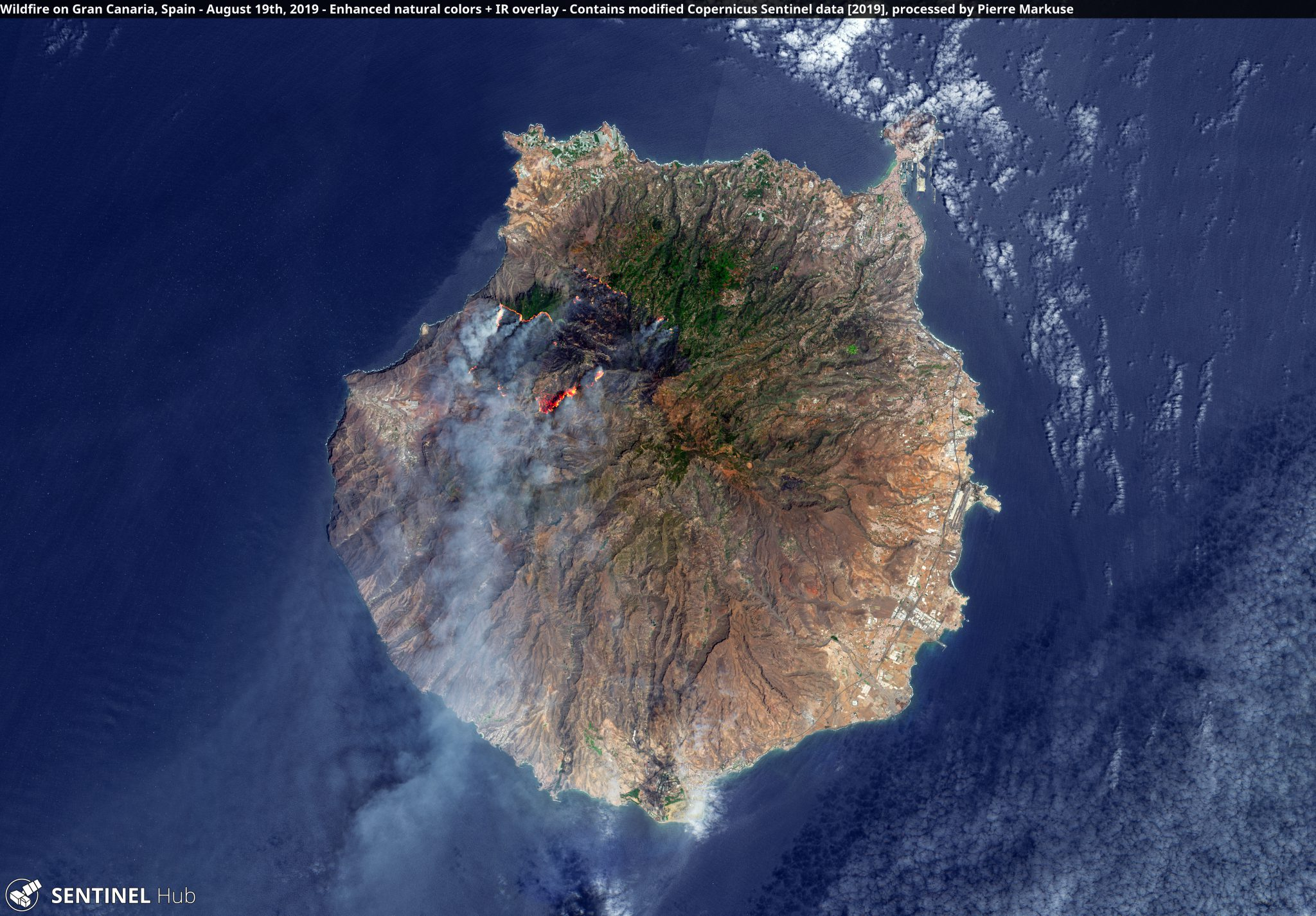 desc:Wildfire on Gran Canaria, Spain - August 19th, 2019 Copernicus/Pierre Markuse