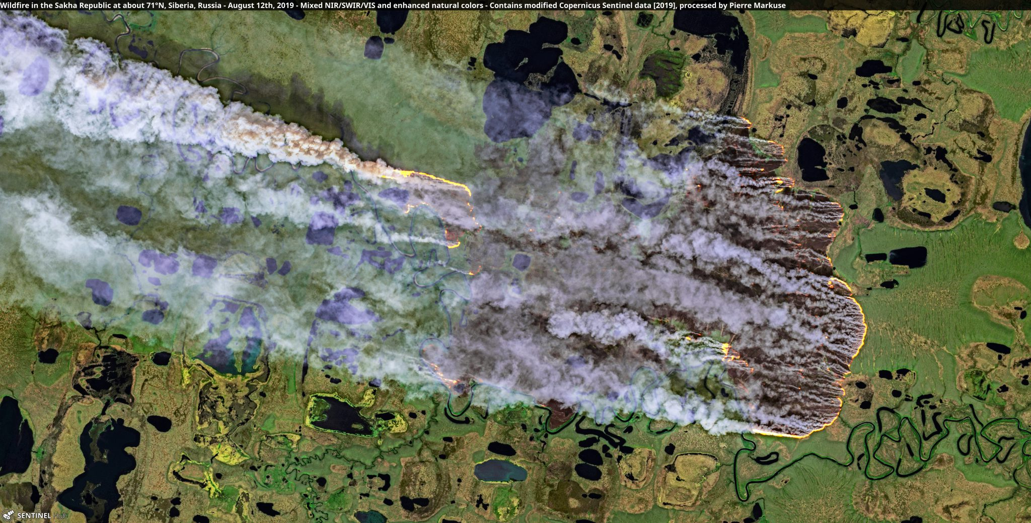 desc:Wildfire in the Sakha Republic at about 71°N, Siberia, Russia - August 12th Copernicus/Pierre Markuse