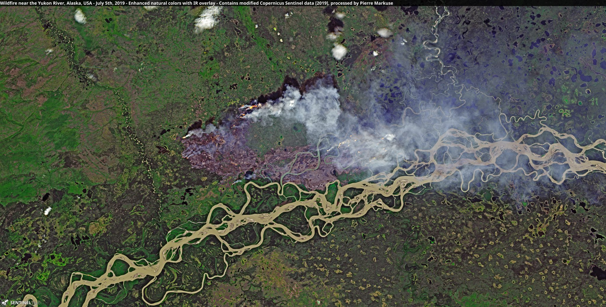 desc:Wildfire near the Yukon River, Alaska, USA Copernicus/Pierre Markuse