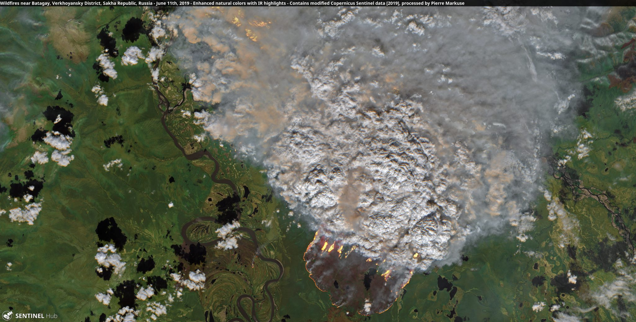 desc:Wildfires near Batagay, Verkhoyansky District, Sakha Republic, Russia;photo:Copernicus/Pierre Markuse