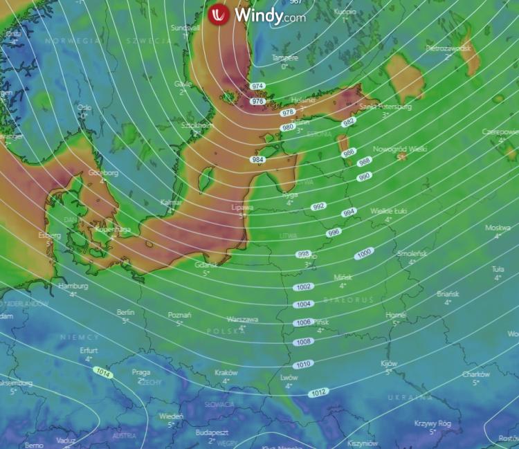 photo: Windy.com; desc: Polska pogoda; licence: cc
