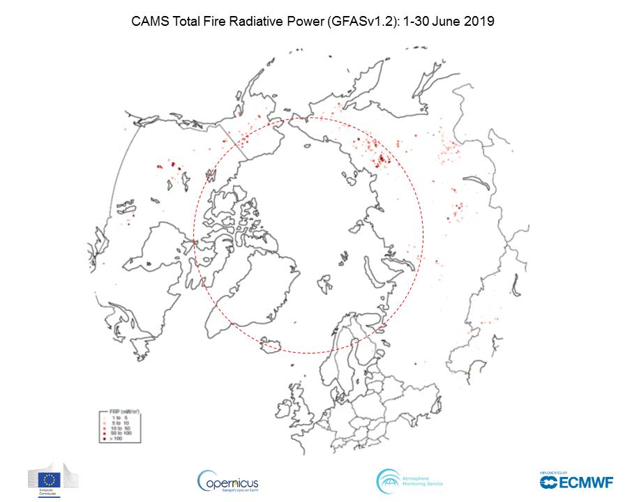 photo: Copernicus Atmosphere Monitoring System (CAMS); desc: Total Fire Radiative Power for Arctic Circle, 1-30 June 2019;