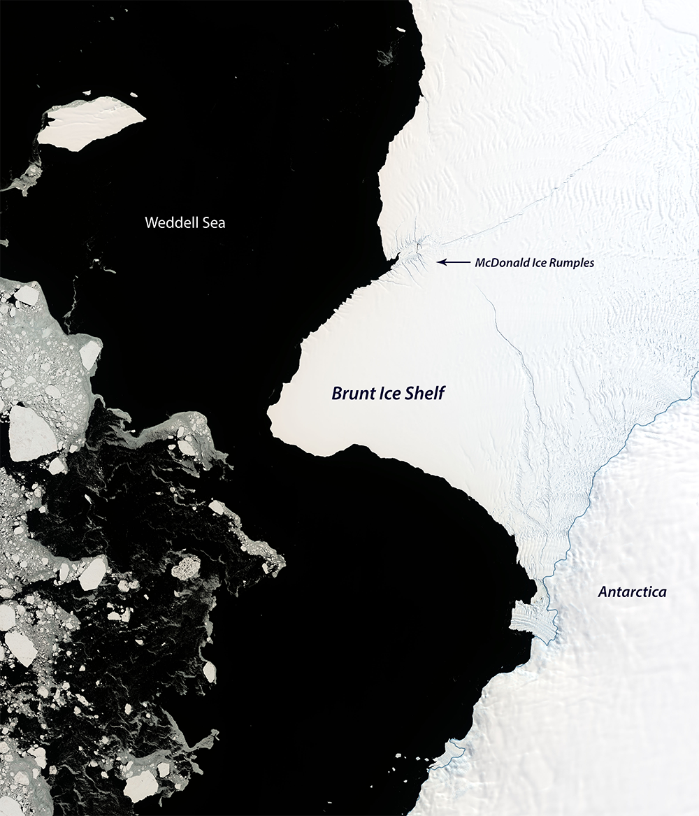photo: NASA EO image Joshua Stevens;desc: Satellite image of the Brunt Ice Shelf.