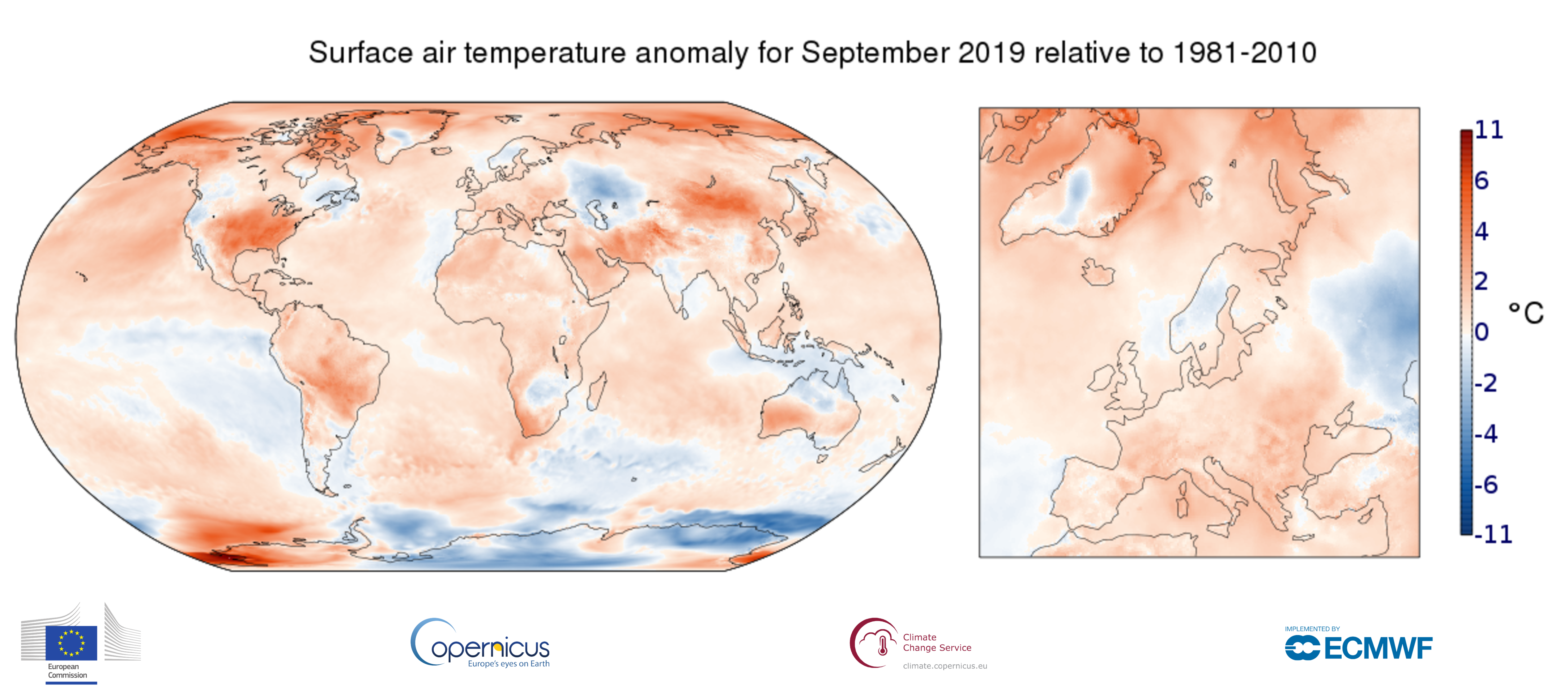photo:Copernicus Climate Change Service/ECMWF;desc:Surface air temperature anomaly for September 2019 relative to the September average for the period 1981-2010. Data source - ERA5