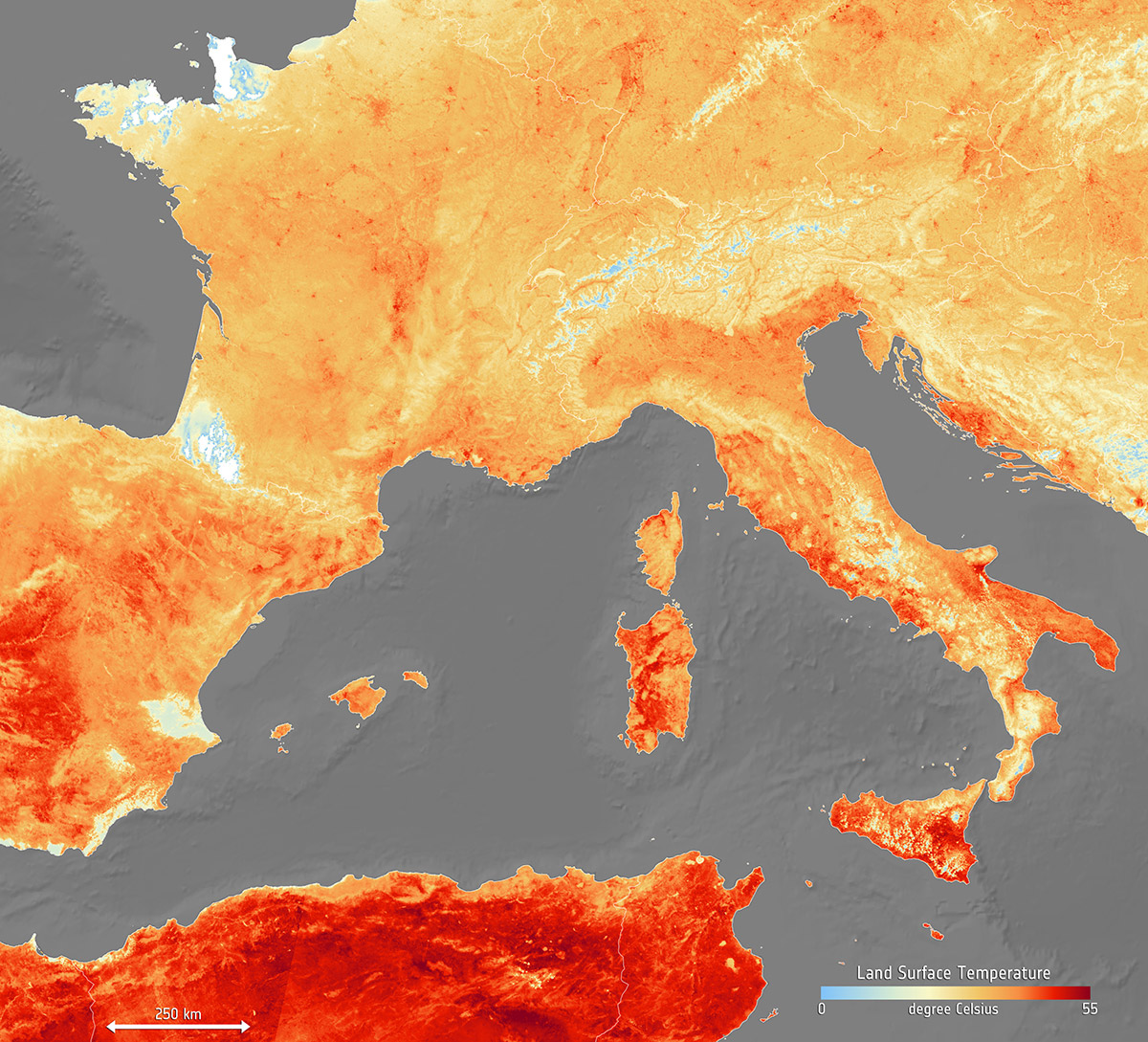 European heatwave land temperatures on 26 June 2019