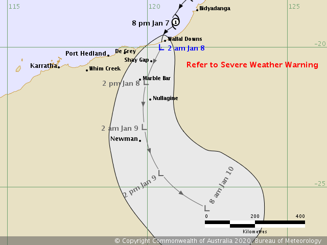 photo:Australian Government Bureau of Meteorology;desc:Tropical Cyclone Blake Forecast Track Map