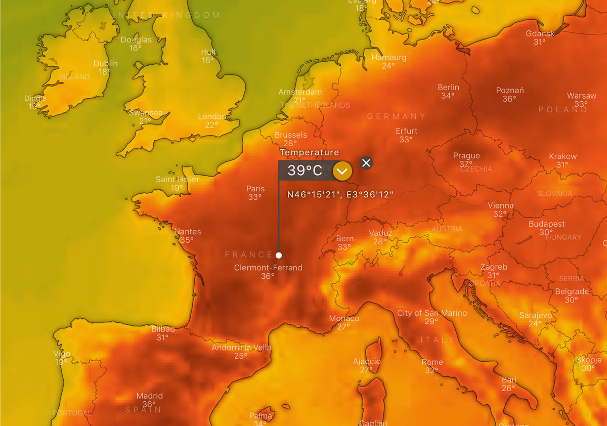 Extreme heatwave in Europe, June 2019