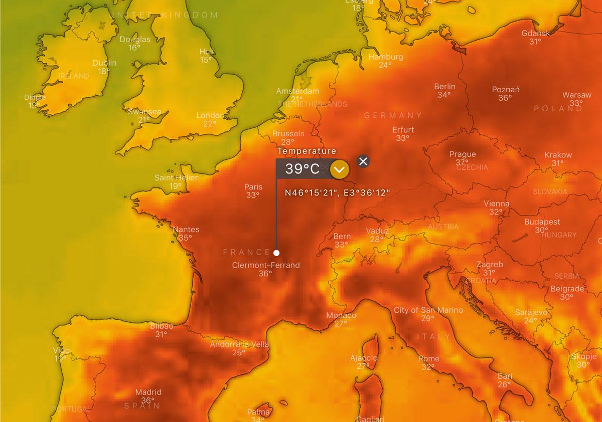 Extreme heatwave in Europe, June 2019