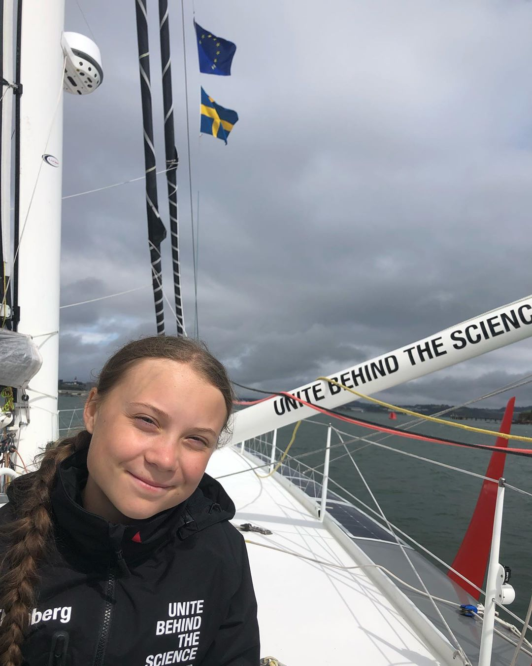 photo:@gretathunberg;desc:Leaving Plymouth and heading for New York;