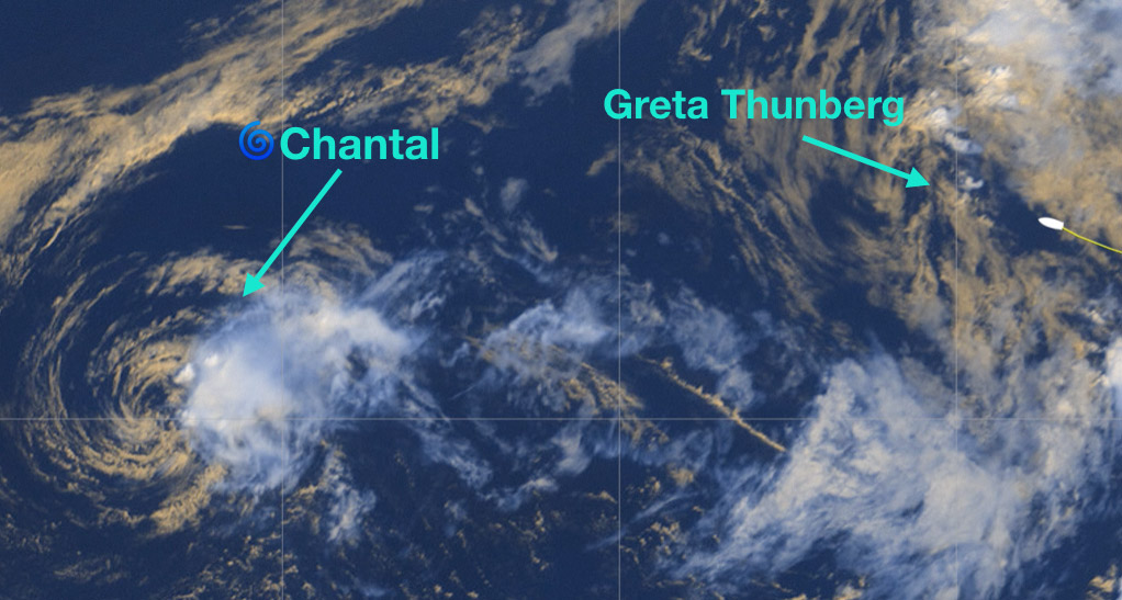 photo:Windy.com;desc:TS Chantal approx. at 40.09N, 51.29W, Malizia II with Greta Thunberg on board approx at 42.14N, 38.47W;licence:cc;