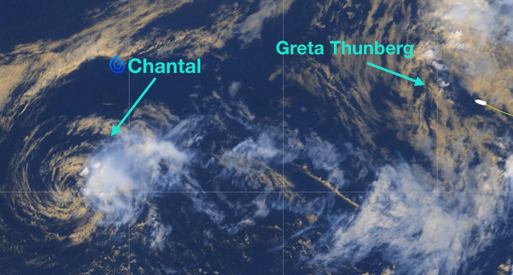 photo:Windy.com;desc:TS Chantal approx. at 40.09N, 51.29W, Malizia II with Greta Thunberg on board approx at 42.14N, 38.47W;licence:cc;