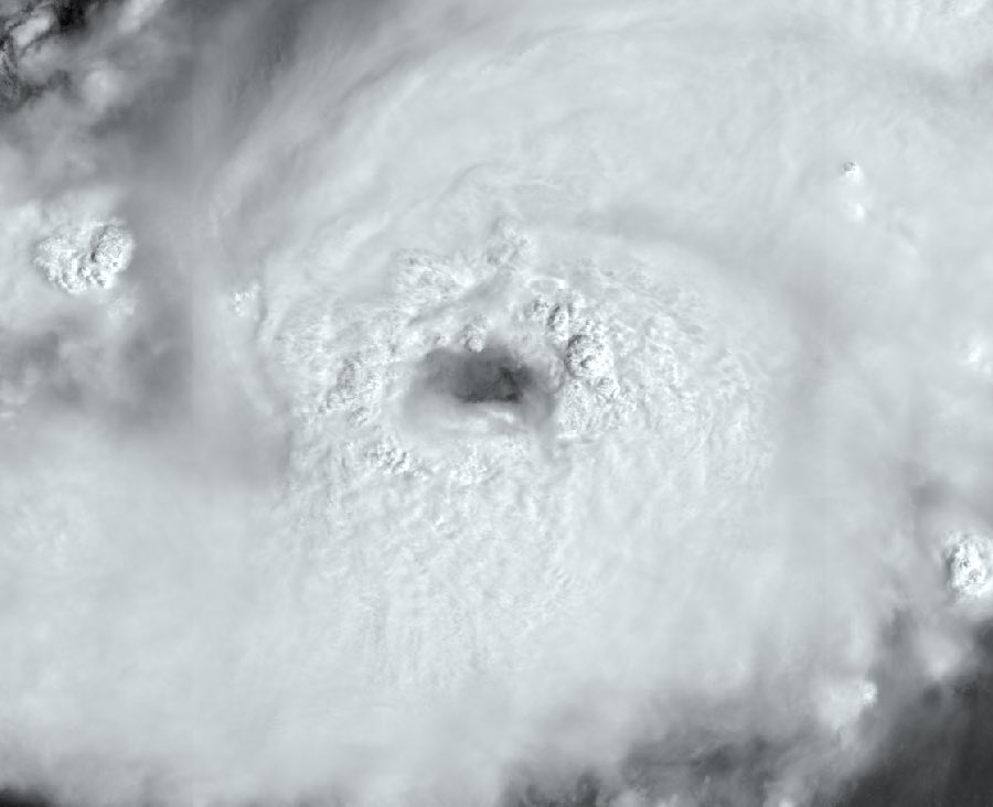 photo:Copernicus EMS;desc:The Eye of Hurricane Dorian,  Sentinel3's OLCI instrument in true colours (zoom) 30 Aug 2019 at 14:53:41 UTC