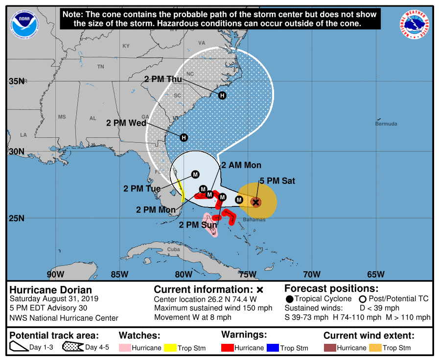 photo:NWS National Hurricane Center;desc:Hurricane Dorian Advisory 30