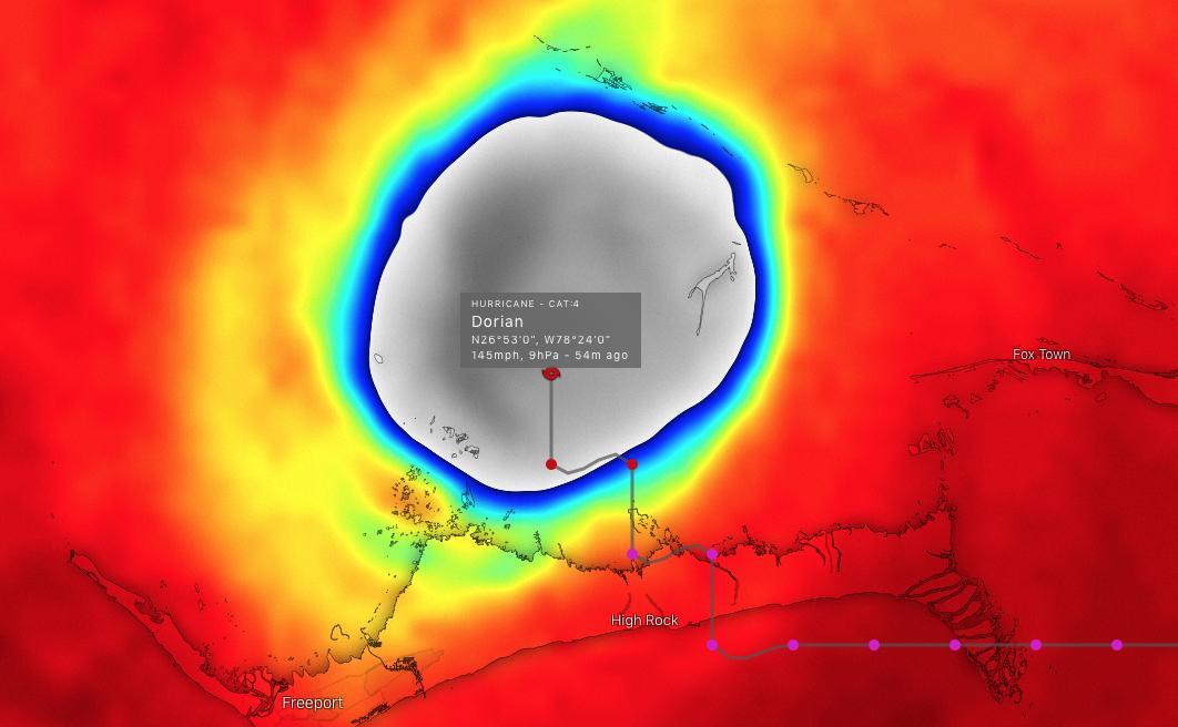photo:Windy.com;desc:The eye of Dorian - 2 September 2019 around 10 p.m. UTC;licence:cc