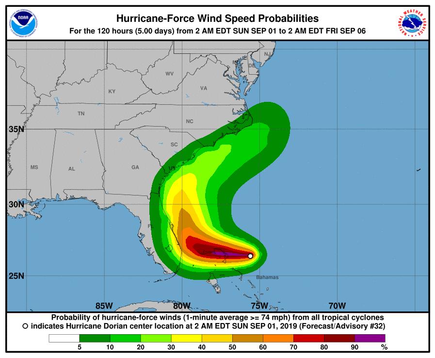 photo:NOAA/NHC;desc:Dorian Hurricane-Force Wind Speed Probabilities