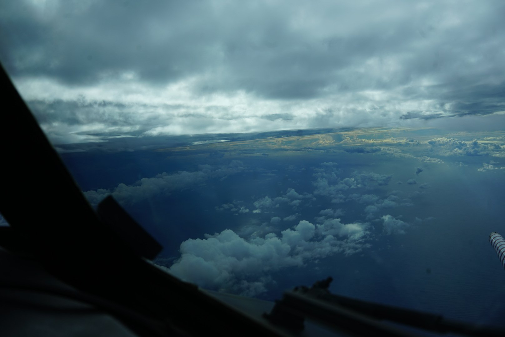 photo: LCDR Robert Mitchell, NOAA; desc: NOAA42's Hurricane Dorian flight this morning, 30 August 2019