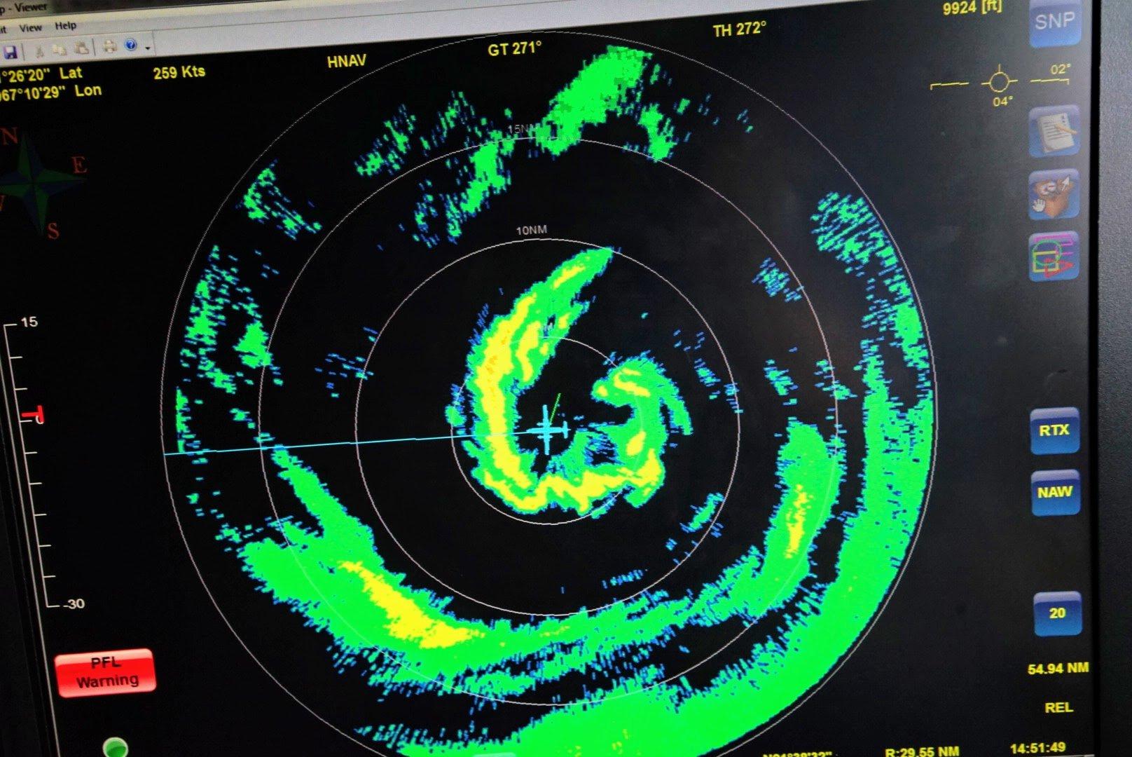 photo: LCDR Robert Mitchell, NOAA; desc: NOAA42's Hurricane Dorian flight this morning, 30 August 2019
