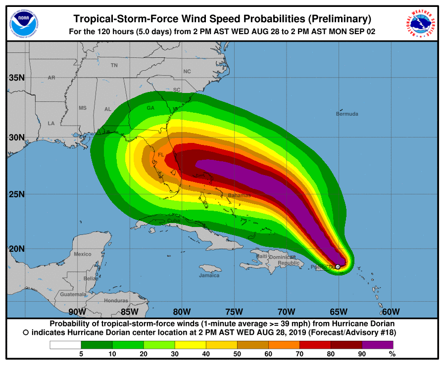photo:NOAA/NHC; TS Dorian Wind Speed Probabilities