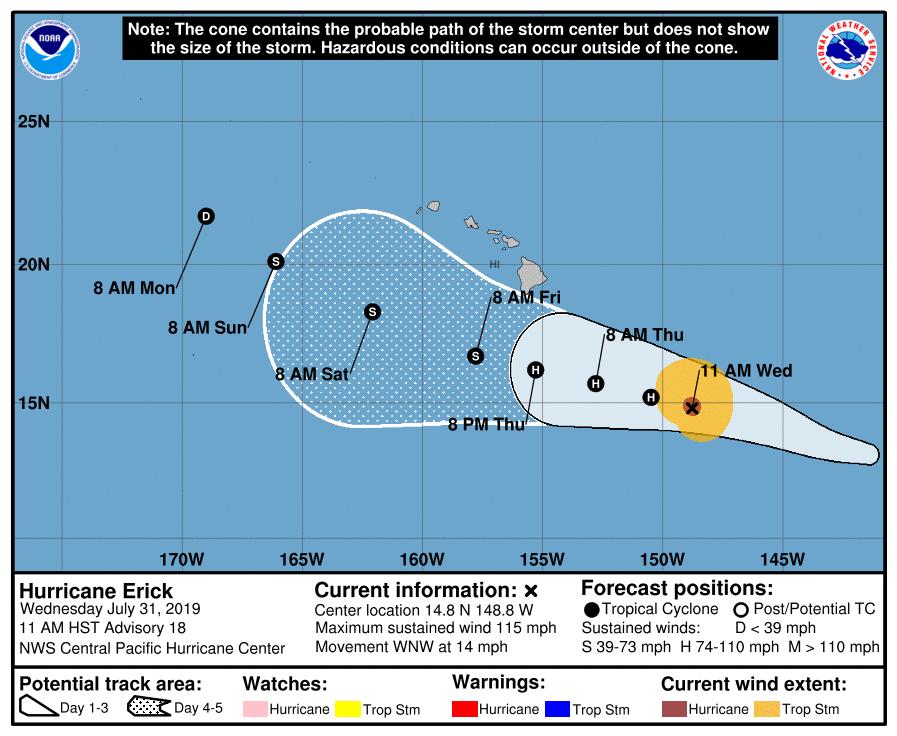 photo:NOAA/HNC; desc: Hurricane Erick 5-day Cone