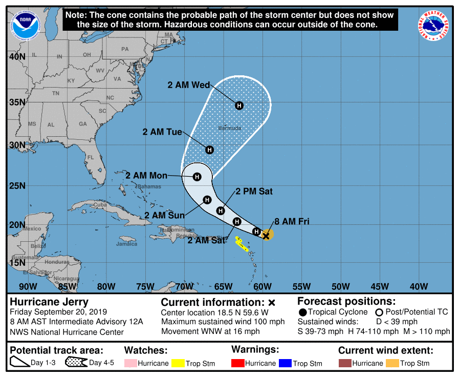 photo:NOAA/NHC;desc:Hurricane Jerry cone (Advisory 12A)