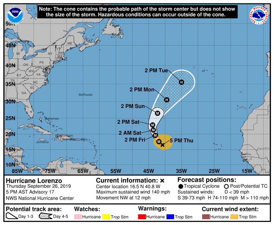 photo:NOAA/NHC;desc:Hurricane Lorenzo Advisory #17