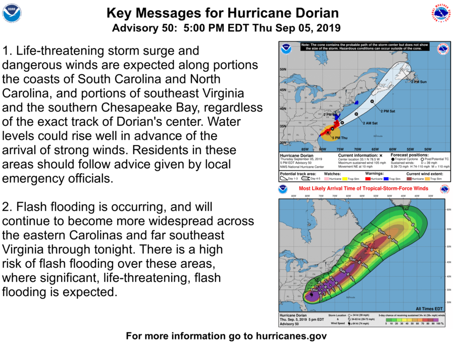photo:NOAA/NHC;desc:Hurricane Dorian Key Messages (Adv. 50)
