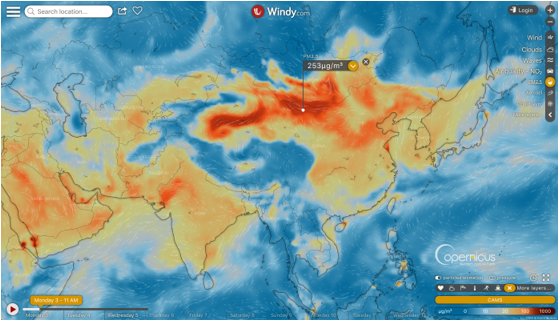 photo: Windy;licence: cc;desc: Plumes of particular matter (PM2.5) over Asia, 3 June, 2019, 16.00h. Source: Windy using CAMS data;