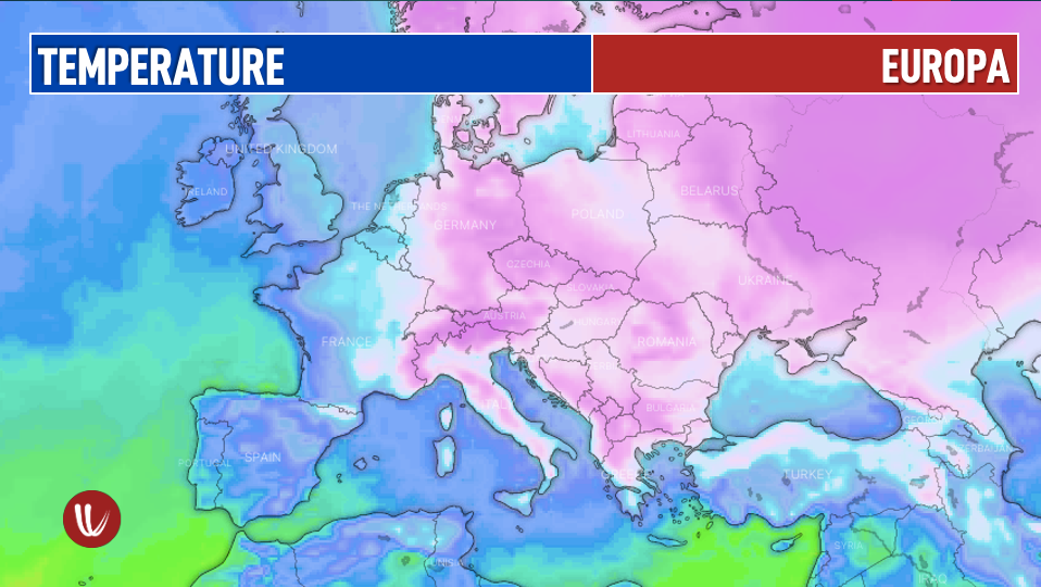 Photo by: windy.com; desc: temperature in Europa questo fine settimana; licence cc