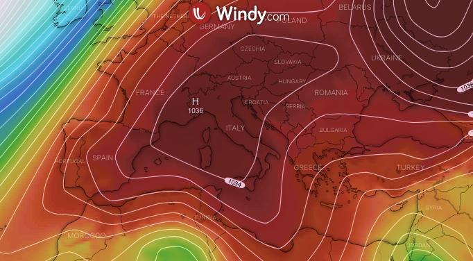 Photo by: windy.com; desc: da notare la forte presenza dell'anticiclone sull'Italia e su gran parte d'Europa; licence cc