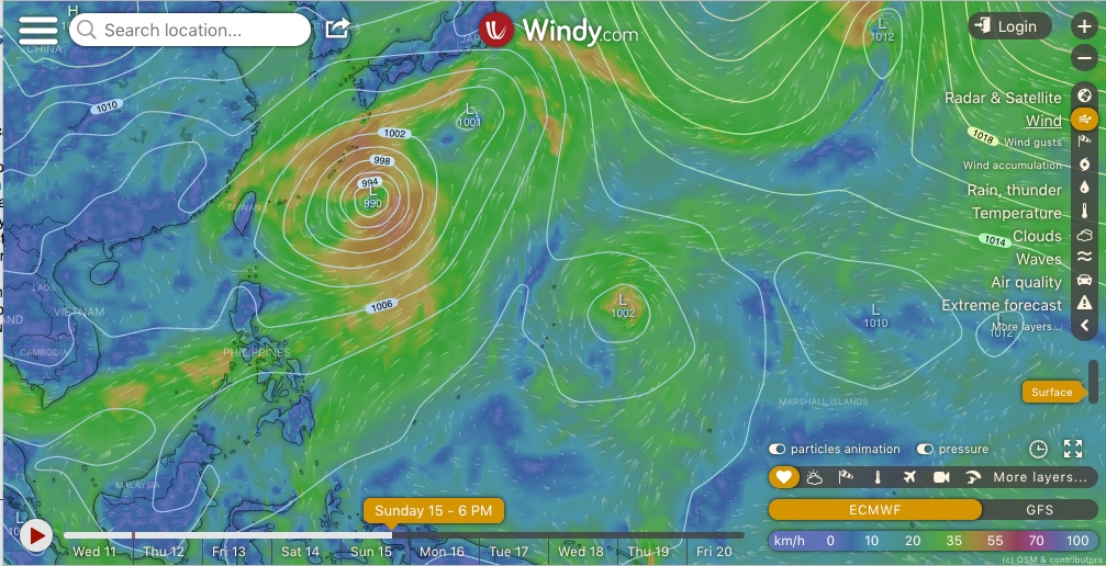 photo:Windy.com; desc: ECMWF Model showing multiple Low Pressure Systems in the Northwest Pacific Basin; licence:cc
