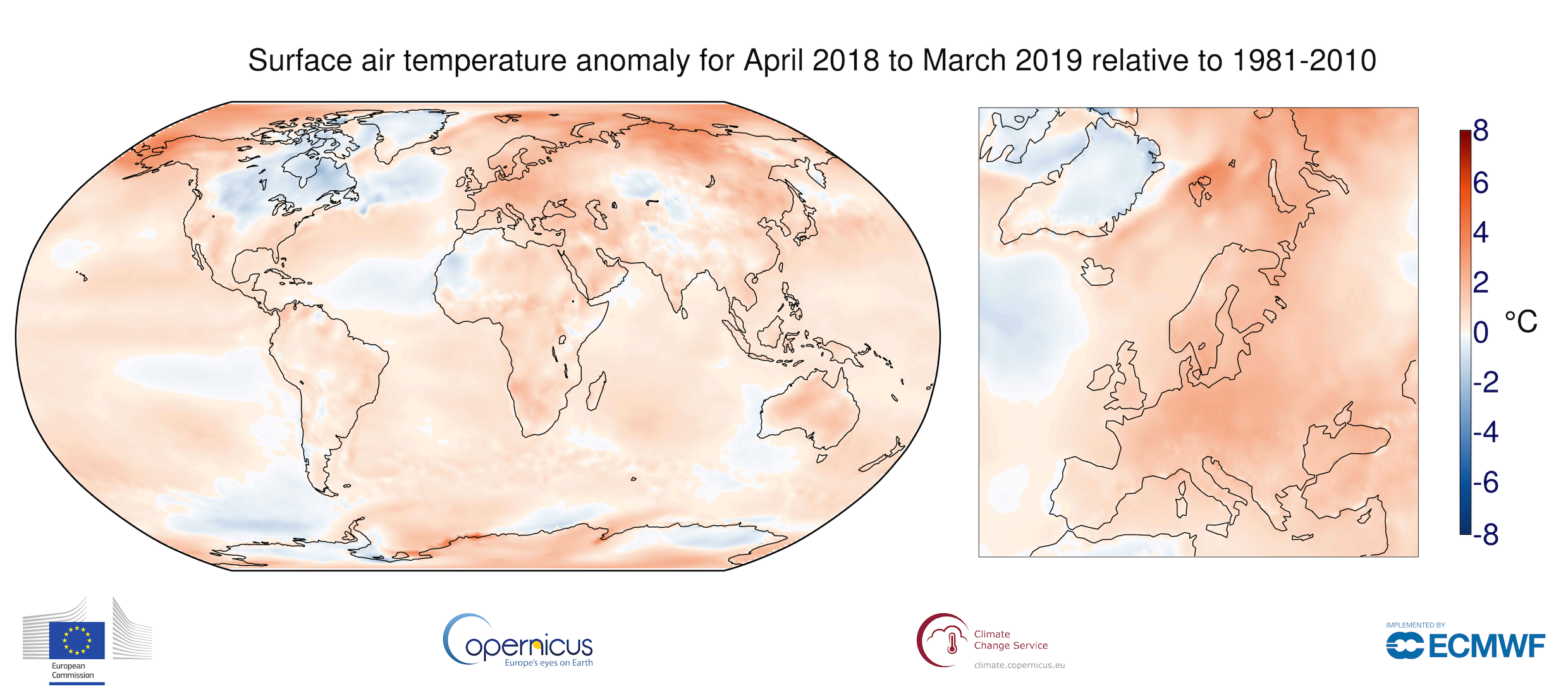 photo:ECMWF, Copernicus Climate Change Service;desc:Surface air temperature anomaly for April 2018 to March 2019 relative to the average for 1981-2010. Source: ERA-Interim.;