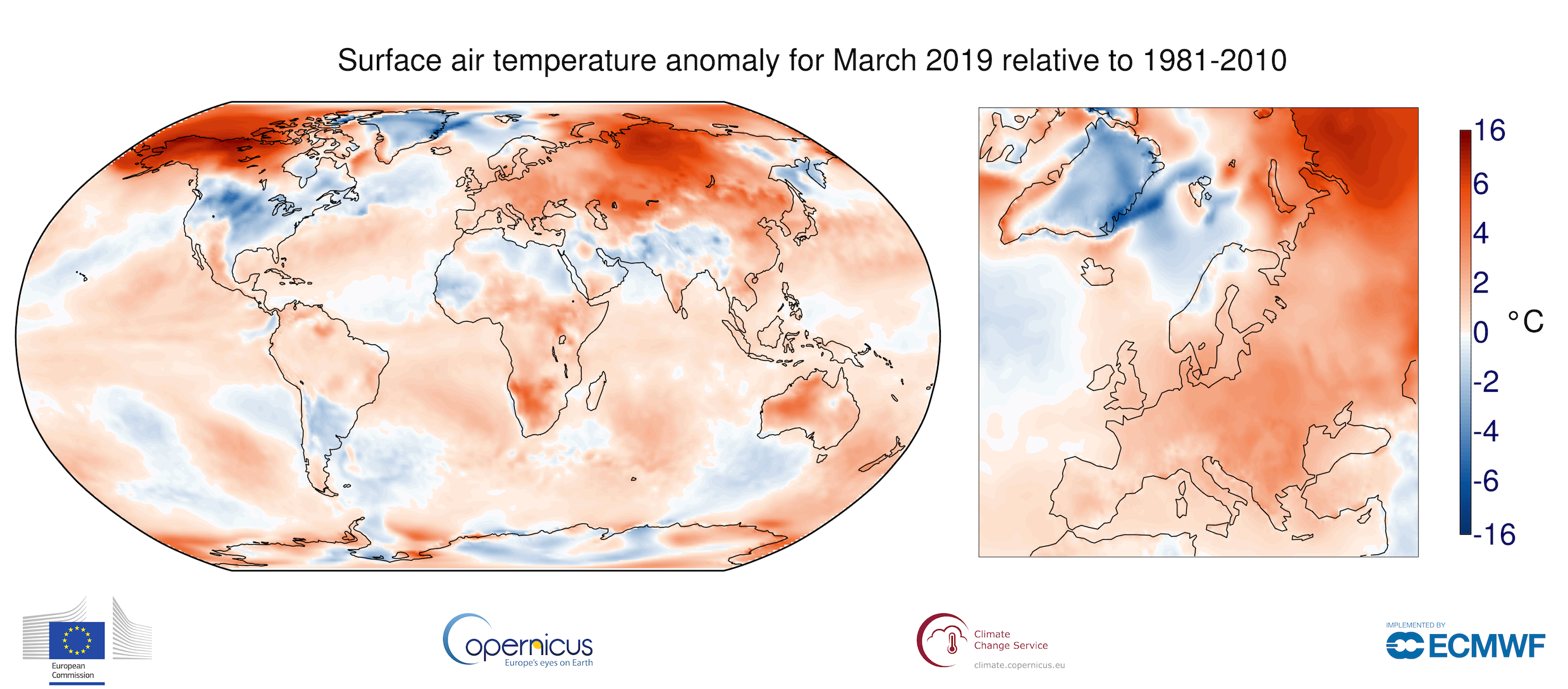 photo:ECMWF, Copernicus Climate Change Service;desc: Surface air temperature anomaly for March 2019 relative to the March average for the period 1981-2010. Source: ERA-Interim.;