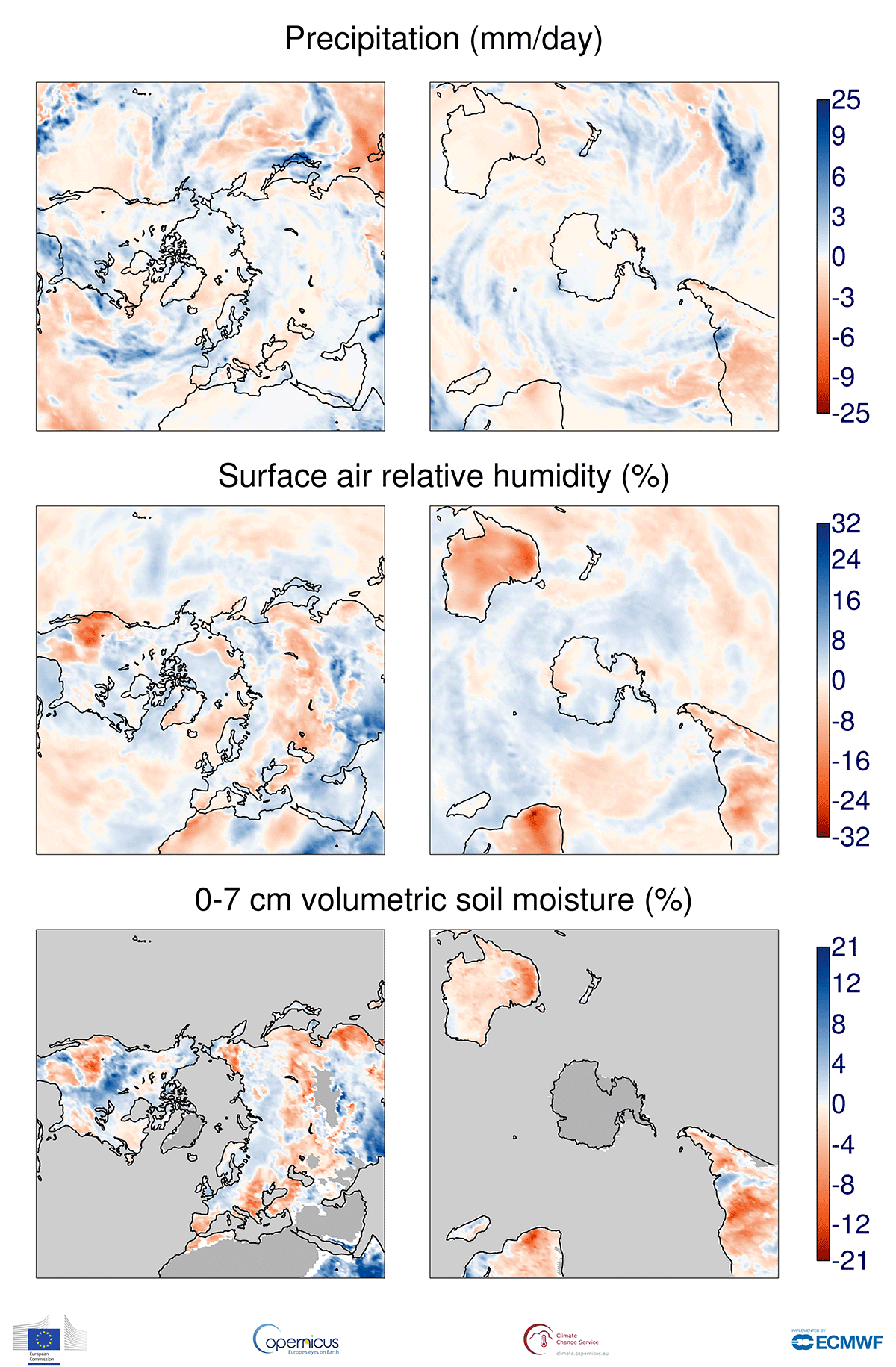 photo:Copernicus Climate Change Service/ECMWF;desc:Anomalies in precipitation, the relative humidity of surface air and the volumetric moisture content of the top 7 cm of soil for October 2019 with respect to October averages for the period 1981-2010. The darker grey shading denotes where soil moisture is not shown due to ice cover or climatologically low precipitation. Data source - ERA5