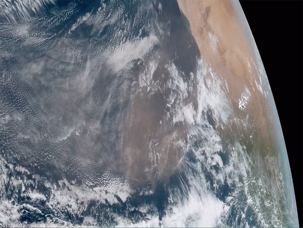 Saharan dust is blowing over the Atlantic Ocean