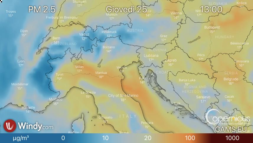 Photo by: windy.com via Copernicus; desc: livelli di PM 2.5 in Italia; licence: cc