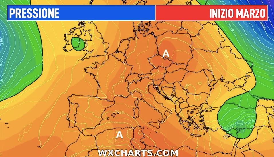 Photo by: wxcharts; desc: pressione atmosferica per l'inizio di marzo; licence: cc