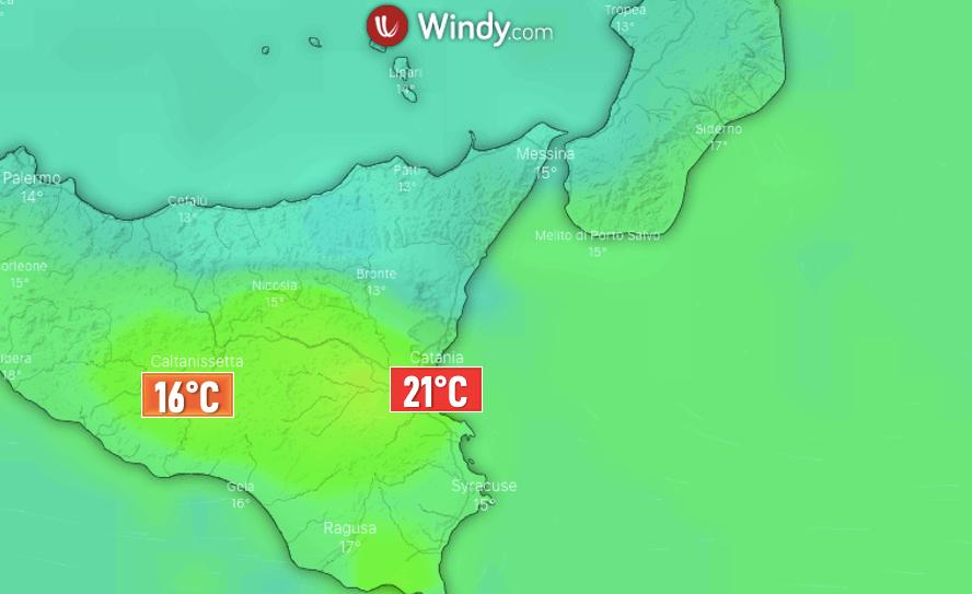 Photo by: windy.com; desc: temperature nel catanese; licence: cc