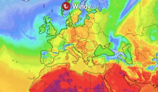 Photo by: windy.com; desc: temperature attuali nel continente Europeo; licence: cc