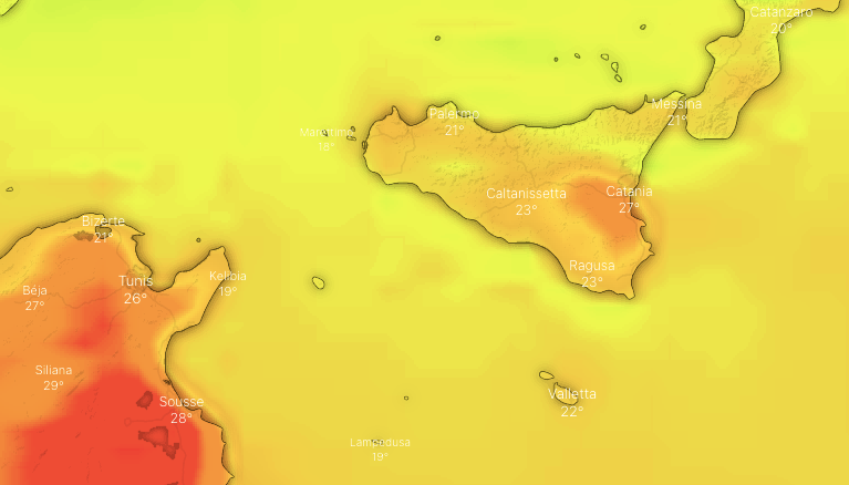 Photo by: windy.com; desc: temperature 14 maggio 2021 Sicilia; licence: cc