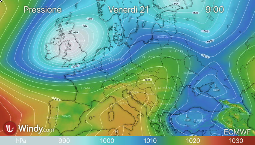 Photo by: windy.com; desc: pressione in atto sull'Europa; licence: cc