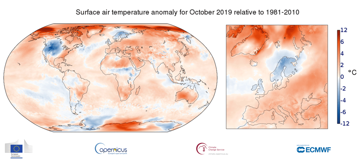 photo: Copernicus Climate Change Service/ECMWF;desc:Surface air temperature anomaly for October 2019 relative to the October average for the period 1981-2010. Data source - ERA5
