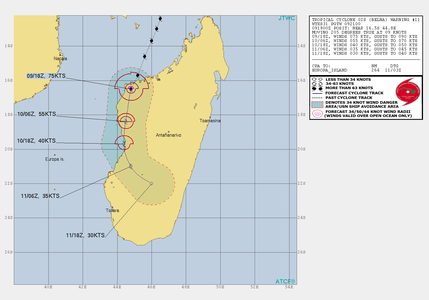 photo:JTWC;desc:Tropical Cyclone Belna forecast cone (Warning #11);
