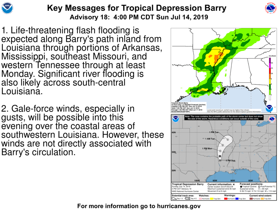 photo:NHC/NOAA; desc:Key Messages for Tropical Depression Barry; link:http://nhc.noaa.gov/