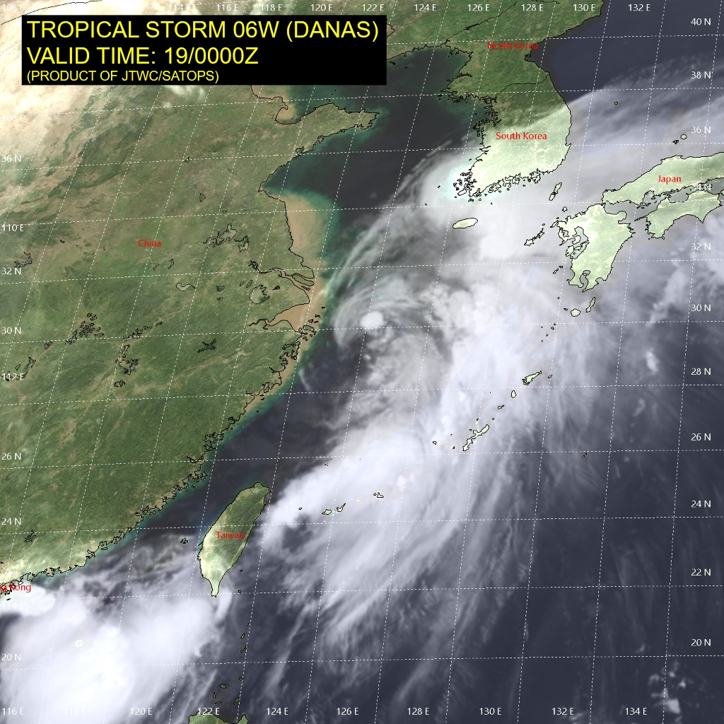 photo: JTWC/SATOPS; description: Tropical Storm Danas on 19 July 2019 at 12:00 a.m. UTC;