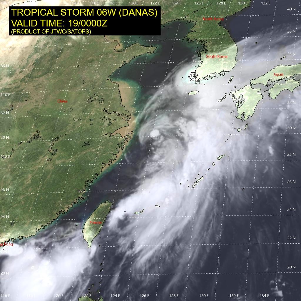 photo: JTWC/SATOPS; description: Tropical Storm Danas on 19 July 2019 at 12:00 a.m. UTC;