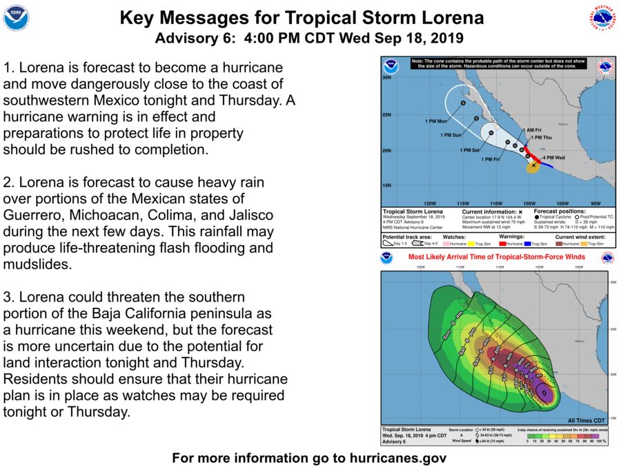 photo:NOAA/NWS;desc:Tropical Storm Lorena Key Messages Adv #6;