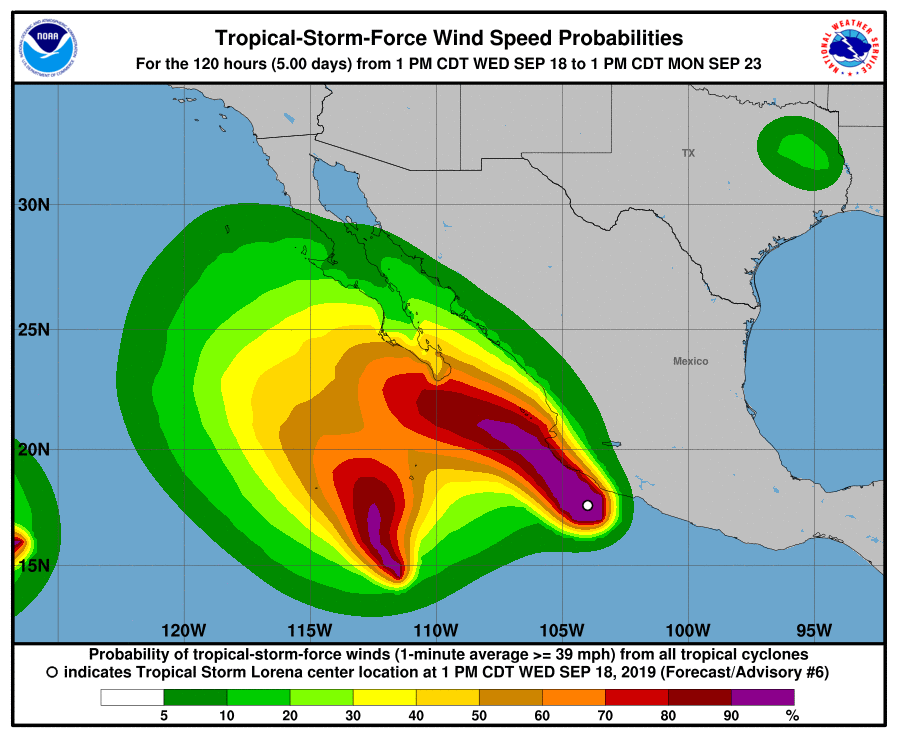 photo:NOAA/NWS;desc:Tropical-Storm-Force Wind Probabilities, Adv #6;